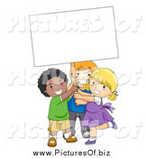 Vector Clipart of Diverse School Kids Holding a Sign by BNP Design Studio