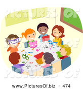 Vector Clipart of Diverse Stick Children Doing Crafts by BNP Design Studio