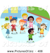 November 21st, 2013: Vector Clipart of Diverse Stick Children Playing in a Class Room by BNP Design Studio