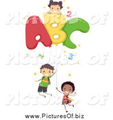 Vector Clipart of Diverse Stick Children with Letter Balloons by BNP Design Studio