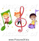 Vector Clipart of Diverse Stick Children with Music Notes by BNP Design Studio