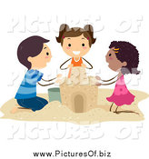 Vector Clipart of Diverse Stick Kids Building a Sand Castle Together by BNP Design Studio