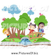January 3rd, 2014: Vector Clipart of Diverse Stick Kids in a Pop up Book Scene by BNP Design Studio