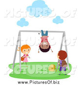 Vector Clipart of Diverse Stick Kids Playing on the Monkey Bars by BNP Design Studio