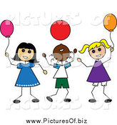 Vector Clipart of Diverse Stick Kids Playing with Balloons by Pams Clipart