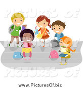 Vector Clipart of Diverse Stick Students Eating Lunch on Bleachers by BNP Design Studio