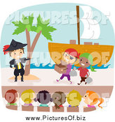 Vector Clipart of Diverse Students Acting in a Pirates Play by BNP Design Studio