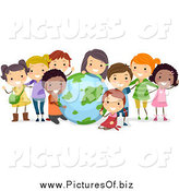 Vector Clipart of Diverse Students with a Globe by BNP Design Studio
