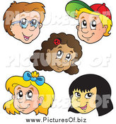 Vector Clipart of Faces of Diverse Happy Children by Visekart
