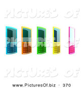 January 30th, 2013: Vector Clipart of Five Colorful Cell Phones in a Row on White by Julos