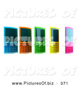 January 31st, 2013: Vector Clipart of Five Colorful Cell Phones in a Row over White by Julos