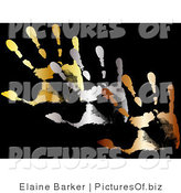 Vector Clipart of Gold, Silver and Bronze Hand Prints on a Solid Black Background by Elaineitalia