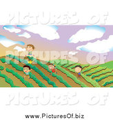 Vector Clipart of Happy Boys Playing in a Crop by Graphics RF