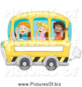 Vector Clipart of Happy Children Waving and Riding a School Bus by BNP Design Studio