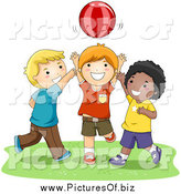Vector Clipart of Happy Diverse Boys Playing Catch with a Ball by BNP Design Studio