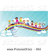December 18th, 2013: Vector Clipart of Happy Diverse Children Waving and Holding Hands on a Rainbow by