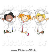 Vector Clipart of Happy Diverse Graduate Kids Jumping by BNP Design Studio