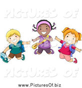 Vector Clipart of Happy Diverse School Children Jumping by BNP Design Studio