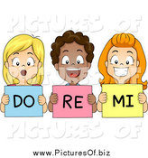 Vector Clipart of Happy Diverse School Children Singing Do Re Mi by BNP Design Studio