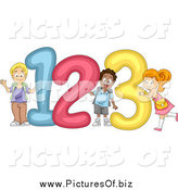 Vector Clipart of Happy Diverse School Children with Giant 123 Numbers by BNP Design Studio