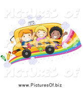 Vector Clipart of Happy Diverse School Kids on a Bus over a Rainbow Road by BNP Design Studio