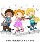 November 19th, 2013: Vector Clipart of Happy Diverse School Kids Playing Instruments on a Keyboard by BNP Design Studio