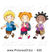 December 17th, 2013: Vector Clipart of Happy Diverse School Kids Walking to School by BNP Design Studio