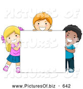 November 18th, 2013: Vector Clipart of Happy Diverse School Kids with a Blank Sign by BNP Design Studio
