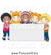 Vector Clipart of Happy Diverse School Kids with a Blank Sign by BNP Design Studio