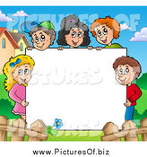Vector Clipart of Happy Kids Holding up a Blank Sign Board, Bordered by Houses and a Fence by Visekart