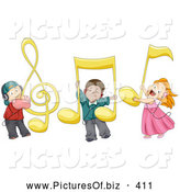 Vector Clipart of Happy Kids with Large Music Notes by BNP Design Studio