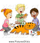 Vector Clipart of Happy School Children Making a Tiger in Art Class by BNP Design Studio