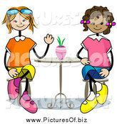 February 13th, 2014: Vector Clipart of Happy Stick Girls Sitting at a Table by BNP Design Studio