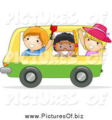 Vector Clipart of Happy Stick Kids on a Bus Heading to the Beach by BNP Design Studio