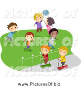 March 29th, 2015: Vector Clipart of Happy Stick Students Playing in a Field by BNP Design Studio