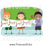 May 7th, 2015: Vector Clipart of Happy Stick Students Studying Butterflies by BNP Design Studio