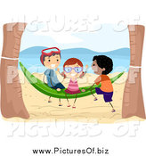 Vector Clipart of Kids Playing on a Beach Hammock by BNP Design Studio