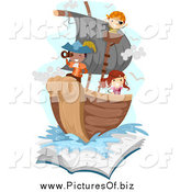 Vector Clipart of Kids Playing Pirates on a Ship Emerging from a Book by BNP Design Studio