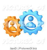 Vector Clipart of Orange and Blue Avatar Gears by 3poD
