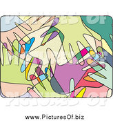 Vector Clipart of Overlapping Abstract Colorful Hands by David Rey