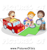 Vector Clipart of Playful Happy School Boys Making a Paper Van by BNP Design Studio