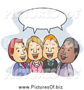 Vector Clipart of Social Business People Talking Under a Word Balloon by BNP Design Studio
