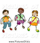 Vector Clipart of Stick Boy and Girl School Kids Walking by BNP Design Studio
