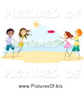 Vector Clipart of Stick Children Playing Frisbee on the Beach by BNP Design Studio