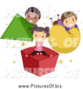Vector Clipart of Stick Children Playing on Shapes by BNP Design Studio