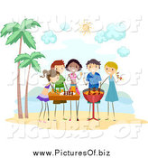 Vector Clipart of Stick People Having a Bbq Beach Party by BNP Design Studio