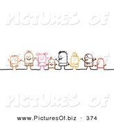 Vector Clipart of Stick Person Character Children Holding Hands by NL Shop