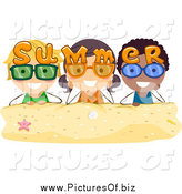 Vector Clipart of Summer Kids with Sunglasses over Sand by BNP Design Studio