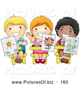 Vector Clipart of Three Cute Diverse School Children Holding up Their Drawings in Art Class by BNP Design Studio