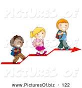 September 25th, 2013: Vector Clipart of Three Cute Diverse School Children Walking up on an Arrow by BNP Design Studio